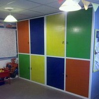 Play room multi colour doors